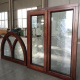 North America Round-Top Solid Red Wood Casement Window with Carved Glass
