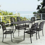 Outdoor Garden Furniture Rectangle Cast Aluminum Table with Chair (YTA916&YTD919)