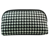 Hot Sale Houndstooth Neoprene Cosmetic Bag with Zipper Closure