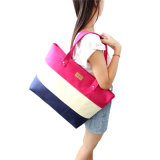 2018 Hot Women Ladies Stripes Canvas Shopping Bags Fashion Ladies Shoulder Messenger Bag Summer Beach Handbag Brand Totes