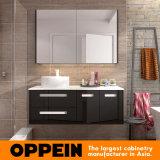 Italian Modern Design Black Lacquer Storage Bathroom Mirror Cabinet with Basin