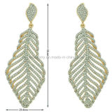 Costume Jewelry Plated Eardrop Feather Earrings with CZ (KE3117)