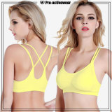 New Design Ladies Polyester Spandex Solid Push up Sports Bra