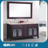 American Style Hot Sale Wooden Bathroom Cabinet with Double Sinks