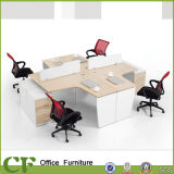 16 mm Partition Fixed Drawers Pedestal Modular Melamine L Shape Office Workstation for 4 Person