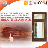Thermal Break Aluminum 3D Red Oak Wood Grain Finishing Wood Color Casement Window, Bedroom/Baby Room Use