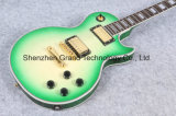 Green Lp Style Electric Guitar with Tiger Flame Top