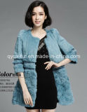 Women′s Winter Warm 100% Rabbit Fur Long Coat Three Quarter Sleeve