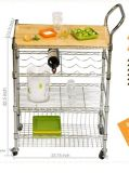 Multi-Functional Chrome Steel Wire Kitchen Trolley with Basket for Hotel
