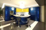 Welbom Blue Modern Kitchen Cabinets, High Gloss with Island