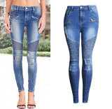 Factory European Ripped Slim Spandex Pencil Waistline Lady′s Jeans Pants