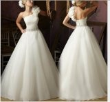 One Frower Shoulder Beaded Waist Bridal Wedding Dresses (NWD1016)