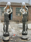 White Marble Stone Art Women Statue Carving for Garden