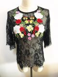 Women Tops Sexy Lace Embroidery Fashion Clothing