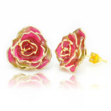 Fashion Accessories 24k Gold Rose Earrings for Wedding Gifts (EH013)