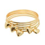 Gold Plated Rose Flower Heart Charms Bracelets Bangles Set
