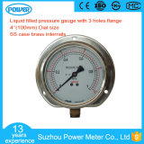 100mm Liquid Oil Pressure Gauge with Three Holes Flange