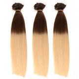 Full Head Double Drawn Triple Weft Ombre Cheap 100% Human Remy Hair Quad Weft Clip in Hair Extension
