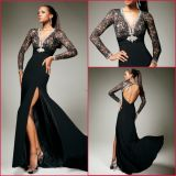 Long Sleeves Party Dress Black Lace Chiffon Evening Dress (E13444)