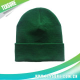 Green Acrylic Knitted Winter Reversible Hats for Promotion (032)
