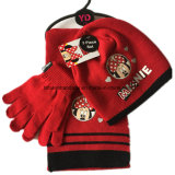 Custom Made Logo Cartoon Printed Red Winter Acrylic Knit Beanie Scarf Gloves Set