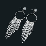 Fashion European and American Iron Long Tassel Earrings for Women
