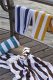 Wholesale Hotel All Cotton Yellow and White Stripe Swimming Towel Beach Yarn Dyed Towels