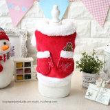 Gingerbread Man Christmas Red Warm Croal Fleece Dog Coat