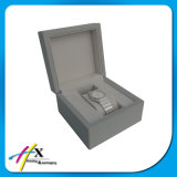 Custom Logo Light Grey Lacquer Wooden Watch Gift Box