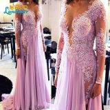Lavender Lace Prom Party Gowns Lace Chiffon Evening Dresses Z5082