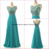 Crystal Party Prom Bodice Blue Chiffon Evening Dress Ez03