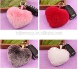 Heart Shaped Fur Bag Charm Rabbit Fur Accessory Rabbit Fur Accessory