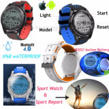 Round Screen Waterproof Sport Watch with Button Battery F3