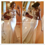 White Empire Back Zipper Lace Chiffon Mermaid Evening Dress Yao48