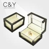 Transparent Acrylic Window Wooden Ring Jewelry Display Box