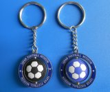 Spinning Metal Soft PVC Football Key Chain