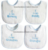 OEM Produce Customized Design Embroidered Baby Boy′s Feeder Bib Baby Products