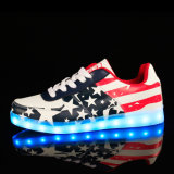Popular Fashion Flat LED Casual Shoes with LED Tape