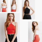 Cropped Halter Top with Self-Tie Neckline