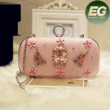 Women Solid Color Evening Clutch Handbag with Accessories Eb802