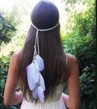 Handmade Folk Greek Bohemian Feather Hair Band
