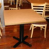 (SP-CS359) Wholesale Cross Cast Iron Base Square Restaurant Wood Table