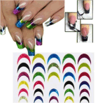 Multi Colored French Tip Water Transfer Nail Art Stickers Nail Sticker