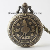 Hot Sale Kids Gift Pocket Watch with Alice Wonderland