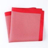 Fashionable Red Silk Polyester Stripe Printed Pocket Square Hanky Handkerchief