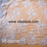 White Corded & Beaded French Lace Fabric Vc-02013bc