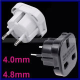 Black White UK to EU Germany 4.0mm/ 4.8mm 2 Pins Travel Adapter Plug Power Socket Converter Plug with Safety Shutter