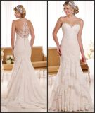 Sheer Neckline Bridal Gowns Buttons Lace Wedding Dress Ens1912