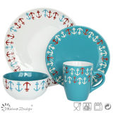 16PCS 2 Tone Color with Silk Screen Dinner Set