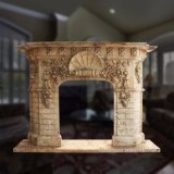 Great Quality Yellow Simple Classic Design Natural Marble Fireplace in 2018 T-6281